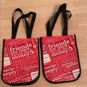 2 LULULEMON reusable tote bags NEW